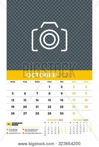 Wall Calendar Planner Template For October 2020. Week Starts On Monday. Typographic Design Template.