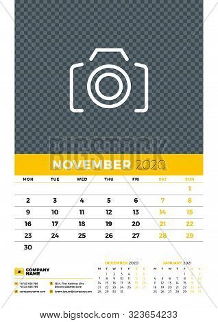 Wall Calendar Planner Template For November 2020. Week Starts On Monday. Typographic Design Template