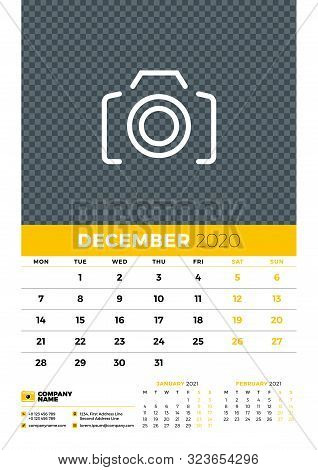 Wall Calendar Planner Template For December 2020. Week Starts On Monday. Typographic Design Template