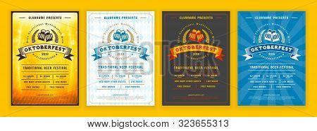 Oktoberfest Beer Festival Celebration. Retro Typography Poster Or Flyer Template For Beer Party. Set