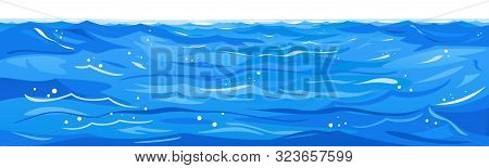 Ocean Waves Nature Background Illustration Isolated, Sea Waves In Windy Cool Weather With Splashes A