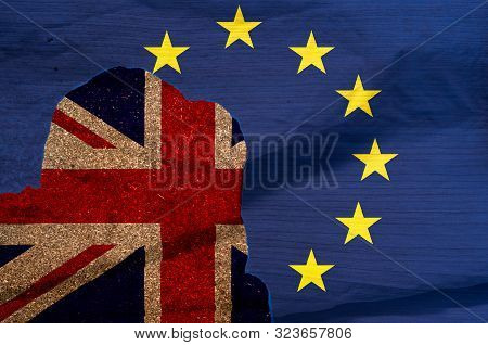 Britian To Leave Eu Concept English And European Union Flags As A Sign Of Brexit