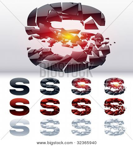 A vector letters set of a collapsing alphabet. 4 states. Symbol S