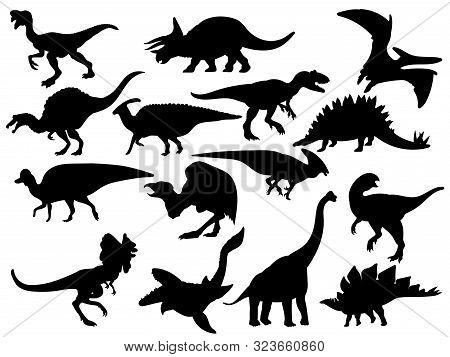 Set Of Dinosaur Silhouettes. Collection Of Extinct Animals. Black And White Illustration Of Dinosaur