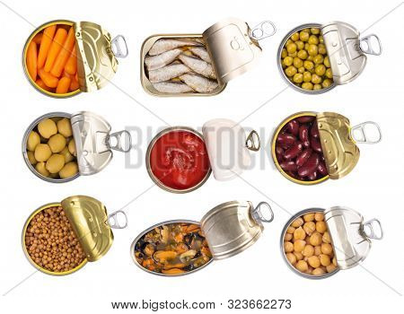 Canned food isolated on white background, top view