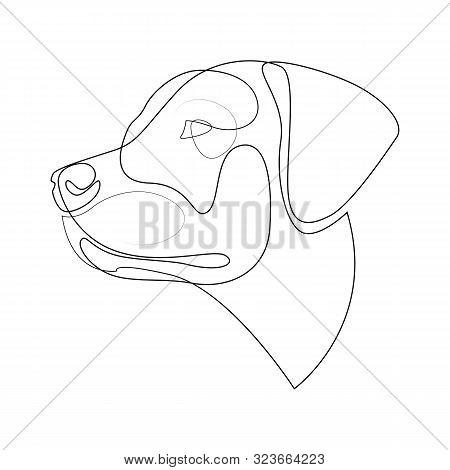 Continuous Line Labrador Retriever. Single Line Minimal Style Labrador Dog Vector Illustration
