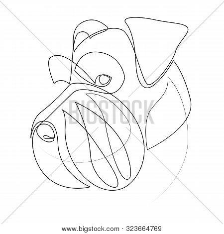 Continuous Line Mittelschnauzer. Single Line Minimal Style Mittel Schnauzer Dog Vector Illustration