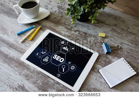 Seo - Search Engine Optimization. Digital Marketing Concept On Screen.