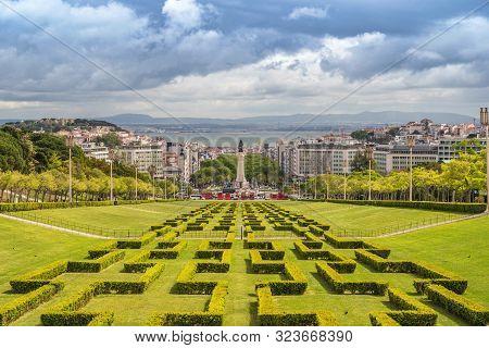Lisbon Portugal, City Skyline At Eduardo Vii Park