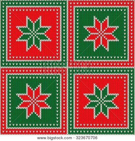 Ugly Sweater Party Pattern Design. Christmas Holiday Seamless Wool Knit Texture Background With Snow