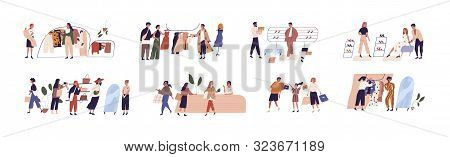 People Shopping Flat Vector Illustrations Set. Happy Boutique Customers And Friendly Sellers Cartoon