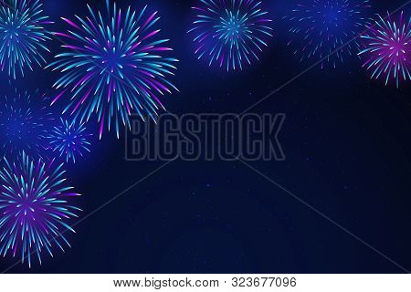 Colorful Fireworks On A Dark Background. Bright Fireworks In The Night Starry Sky. Background For Fe