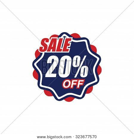 20% Sale Tag Vector Badge Template, 50% Sale Label Collection, Clearance Sale Sticker Emblem, Bargai