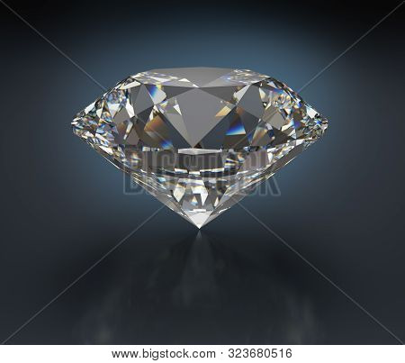 Large Diamond Jewel. 3d Image. Dark Background.