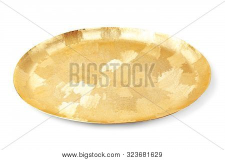 Shiny Stylish Gold Tray On White Background