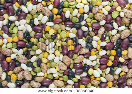 Mixed bean assortment background with focus across edge to edge