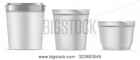 Ice Cream Package. White Tub Mockup. Food Bucket 3d Blank. Paper Or Plastic Yoghurt Cup. Round Tray