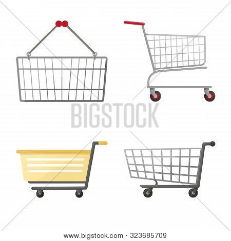 Vector Design Of Cart And Supermarket Symbol. Collection Of Cart And Pushcart Stock Symbol For Web.