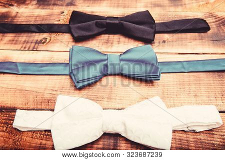 Esthete Detail. Fix Bow Tie. Groom Wedding. Textile Fabric Bow Close Up. Modern Formal Style. Menswe