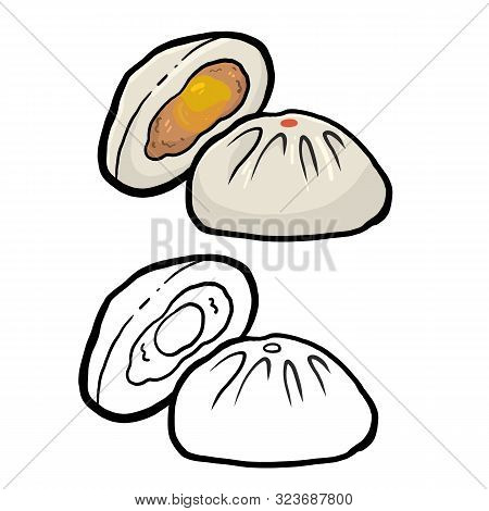 Chinese Steamed Bun, Dim Sum Chinese Traditional Food.  Vector Illustration.