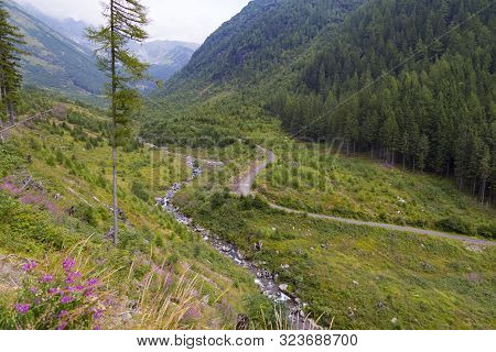 Aerial View On Žiarska ( Ziarska) Valley In Tatras Mountain At Summer. Slovakia. Winding River Smreč