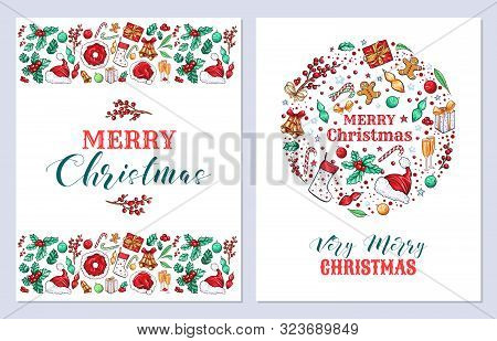 Christmas Holiday Greeting Cards Vector Templates Set. New Year Postcards Design Pack. Mistletoe, Be