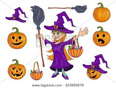 Girl Dressed As A Witch Costume For Halloween. Little Witch Collecting Candy. Halloween Holiday. Sig