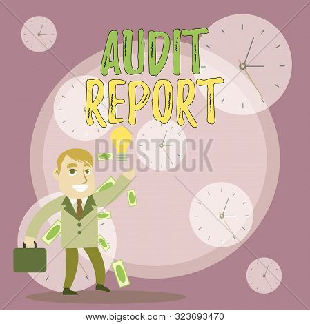 Writing note showing Audit Report. Business photo showcasing An appraisal of complete financial status of a business Assets Successful Businessman Generating Idea or Finding Solution. poster
