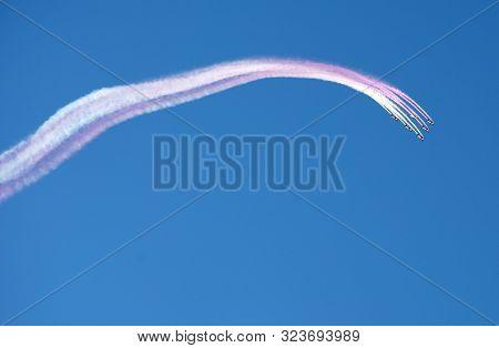 Doha, Qatar - December 14, 2018: Airshow In Doha, Qatar. Airplanes On Airshow. Aerobatic Team Perfor