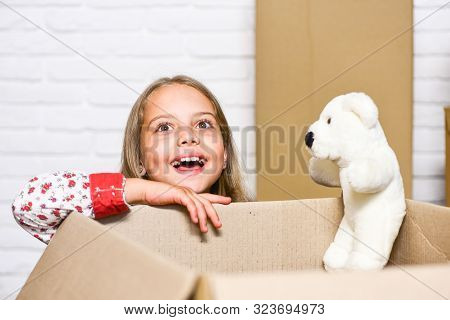 Relocating Delivery Services. Delivering Happiness. Little Child Open Post Package With Toys. Delive