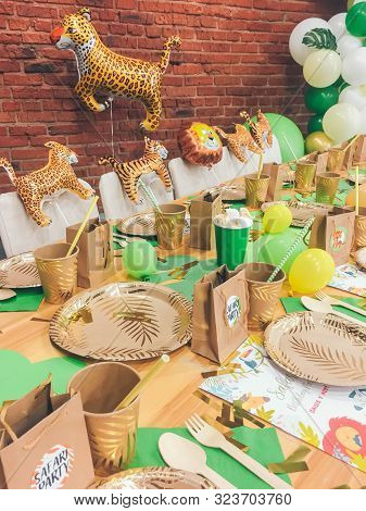 Perm/ Russia - May, 20, 2019: Safari Party Birthday Table Setting. Decorated Room For Boy Or Girl Ki
