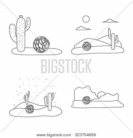 Isolated Object Of Wilderness And Texas Icon. Collection Of Wilderness And Pasture Stock Symbol For