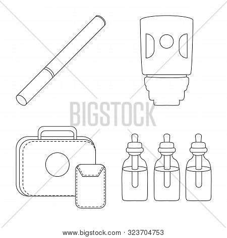 Vector Illustration Of Nicotine And Filter Icon. Set Of Nicotine And Pipe Stock Vector Illustration.