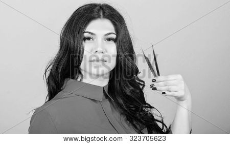 Lash Tool. Girl Makeup Face Hold Tweezers For Eyelash Extension. Classic Technique Applying Single L