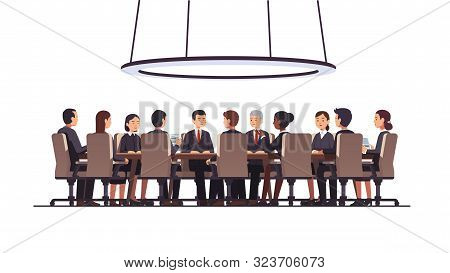 Politicians Group Authority Sitting At Round Table