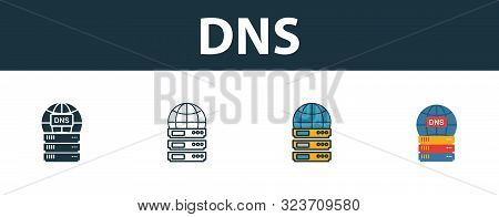 Dns Icon Set. Four Simple Symbols In Diferent Styles From Web Hosting Icons Collection. Creative Dns