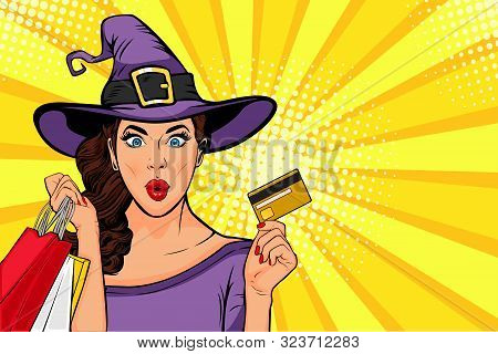 Halloween Sale Vector Illustaration. Sexy Yong Girl In Witch Costume And Bags In Pop Art Retro Comic