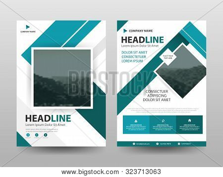 Blue Abstract Triangle Annual Report Brochure Design Template Vector. Business Flyers Infographic Ma