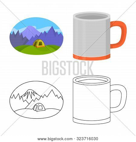 Vector Illustration Of Cookout And Wildlife Symbol. Set Of Cookout And Rest Vector Icon For Stock.