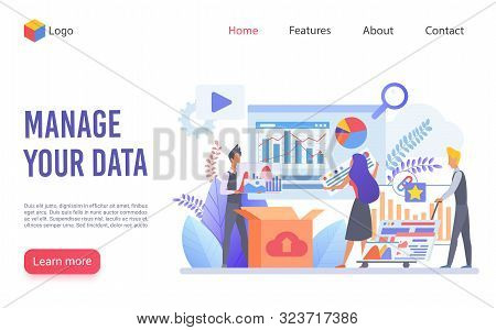 Data Management Flat Vector Landing Page Template. Business Analysis Website Homepage Layout. Workfl