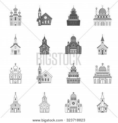 Vector Design Of Cult And Temple Icon. Collection Of Cult And Parish Stock Vector Illustration.