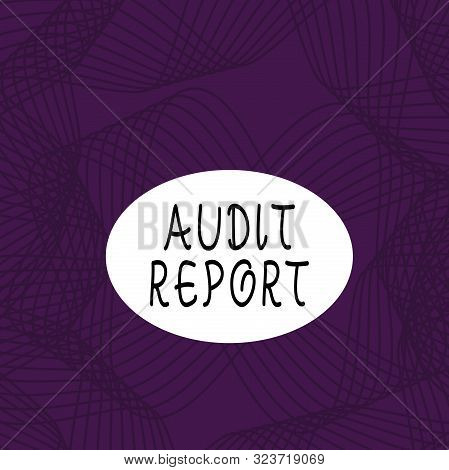 Text sign showing Audit Report. Conceptual photo An appraisal of complete financial status of a business Assets Set of Lines in Curvy Flowing Motion in Monochrome Violet Abstract Pattern. poster