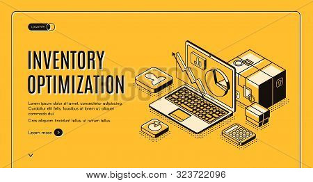 Inventory Optimization Isometric Landing Page. Balancing Capital Investment Constraints Service-leve