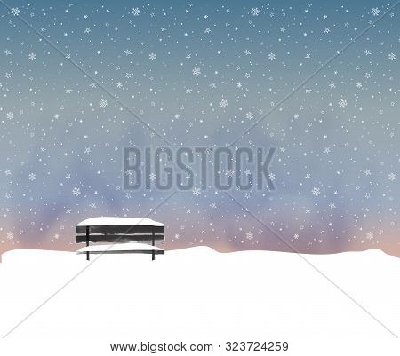 Winter Landscape With Old Black Bench In Night Snowfall. Vector Illustration In Minimalist Style