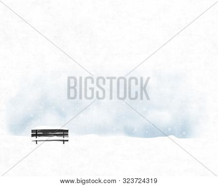 Winter Landscape With Old Black Bench In Snowfall. Vector Illustration In Minimalist Style