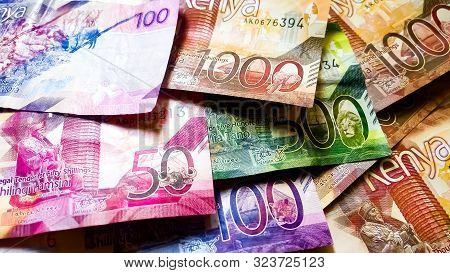 Nairobi, Kenya - September 18: 50, 100, 500 And 1000 Bank Notes Of Kenya Scattered Together And Take