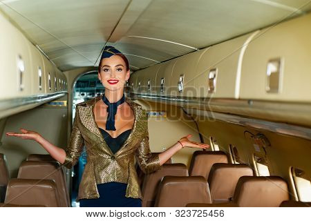 Beautiful Flight Attendant In An Airplane Cabin Smiling. On A Board Of Commercial Airplane. Air Stew