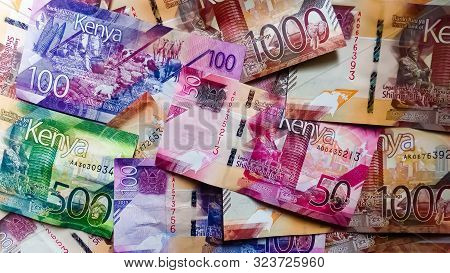 Nairobi, Kenya - September 18: Kenya Bank Notes Of 1000, 500,100 And 50 In Flat Lay Taken On Septemb