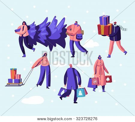 Happy People Citizen Wearing Warm Clothes Prepare for Winter Holidays Carrying Christmas Tree, Buying Gifts for Family and Friends. Greetings and Festive Season Event. Cartoon Flat Vector Illustration poster