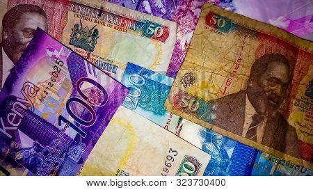 Nairobi, Kenya - September 18: Flat Lay Of A Mixture Of The Old And The New Bank Notes Of Kenya Take